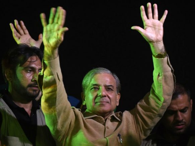 Shahbaz Sharif, the younger brother of ousted Pakistani prime minister Nawaz Sharif and the head of Pakistan Muslim League -Nawaz (PML-N), waves to supporters during an election campaign meeting in Karachi on June 25, 2018. PHOTO: AFP