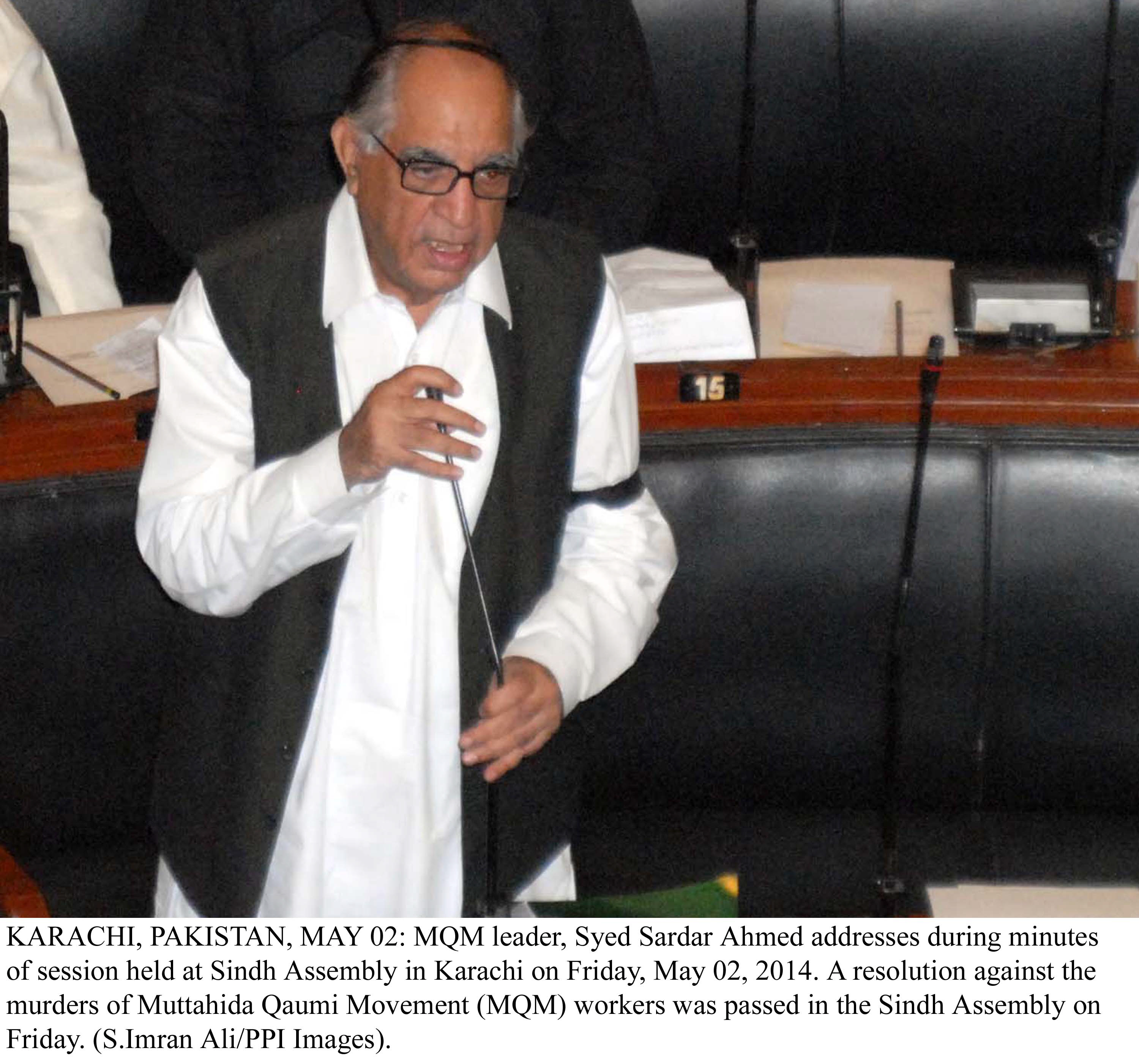 Syed Sardar Ahmed presents his resolution in the Sindh Assembly on Friday. PHOTO: PPI