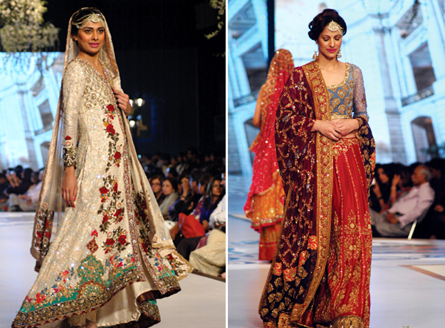 Models present bridal creations from designer Tena Durrani on the first day of PBCW 2014 in Karachi. PHOTO: ARIF SOOMRO/EXPRESS
