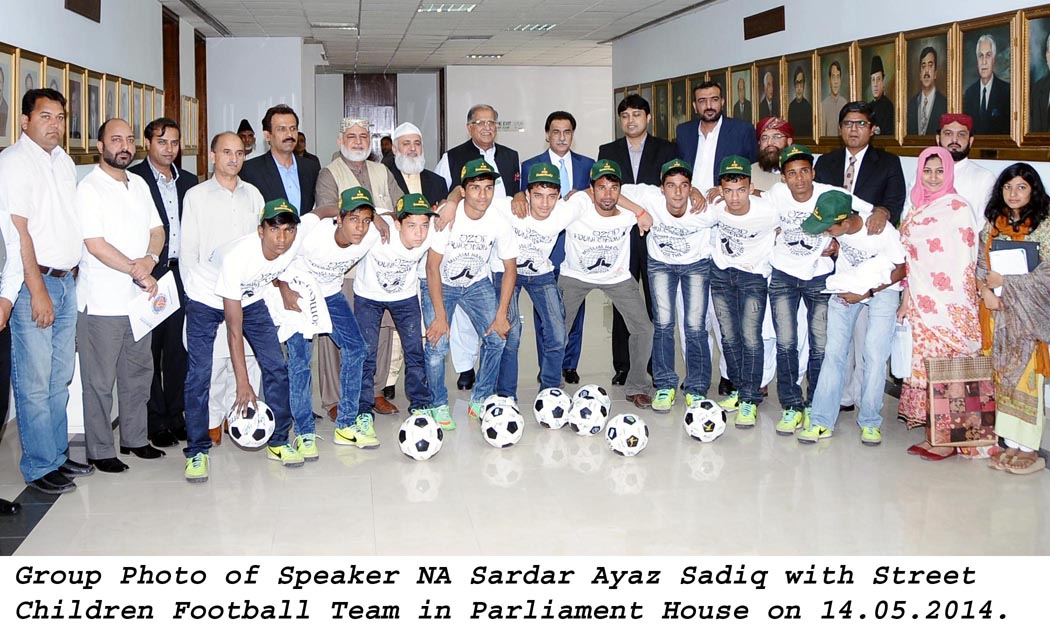The Speaker National Assembly with the Street Children Football Team at Parliament House in Islamabad on May 14, 2014. PHOTO: PID