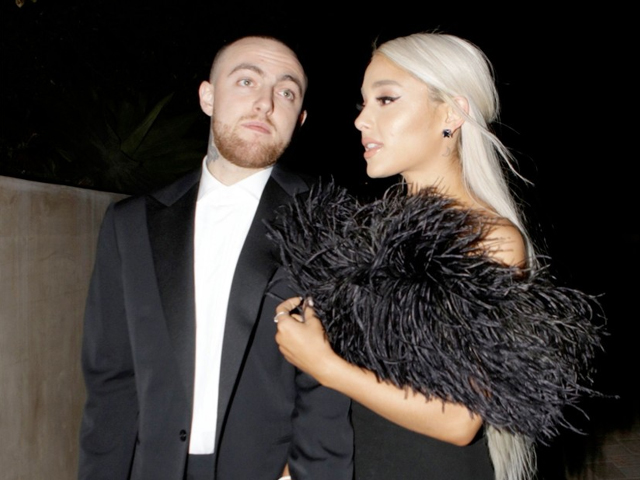Rapper Mac Miller and singer Ariana Grande seen attending an Oscar party on March 4, 2018 in Los Angeles, California. PHOTO: GETTY