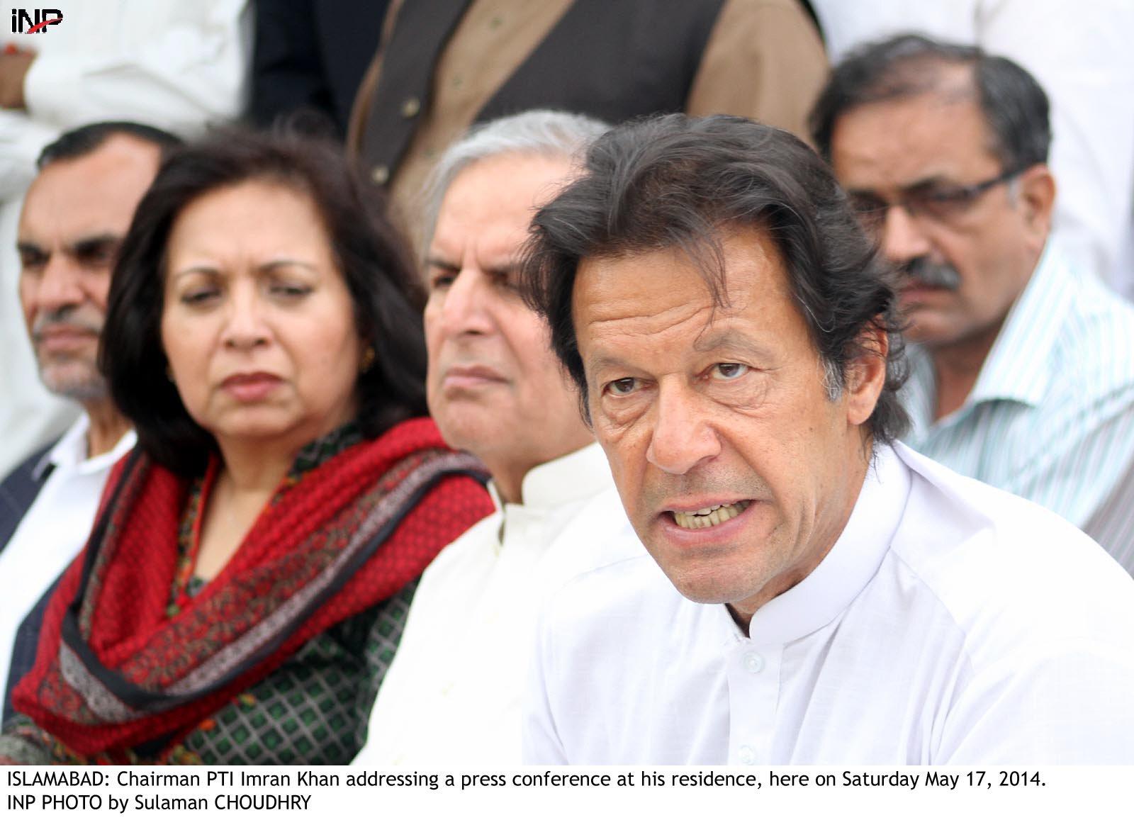 Pakistan Tehreek-e-Insaf chairperson Imran Khan. PHOTO: INP