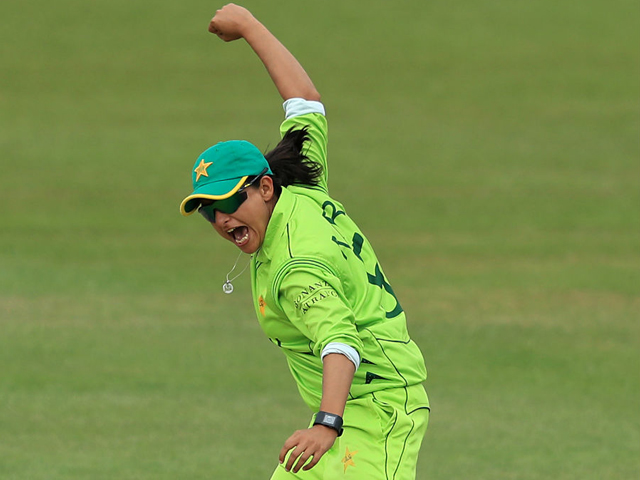 Sana Mir celebrates a wicket, South Africa v Pakistan, Women's World Cup, Leicester, June 25, 2017. PHOTO: ICC