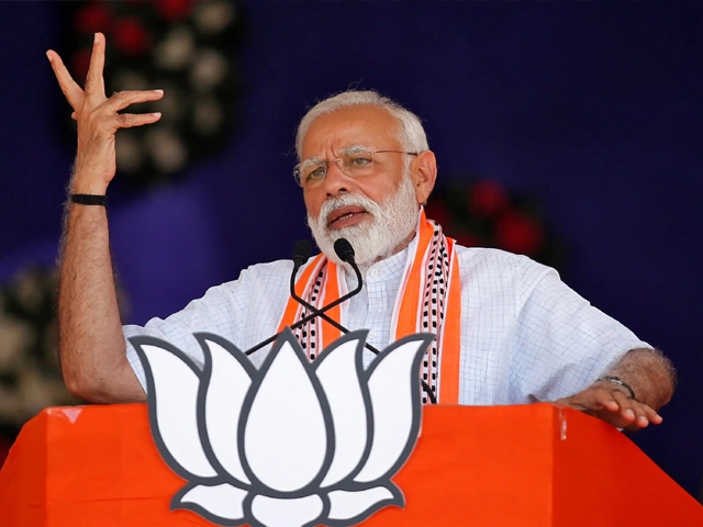 India's Prime Minister Narendra Modi addresses an election campaign rally in Junagadh, Gujarat, India on April 10, 2019. PHOTO: REUTERS