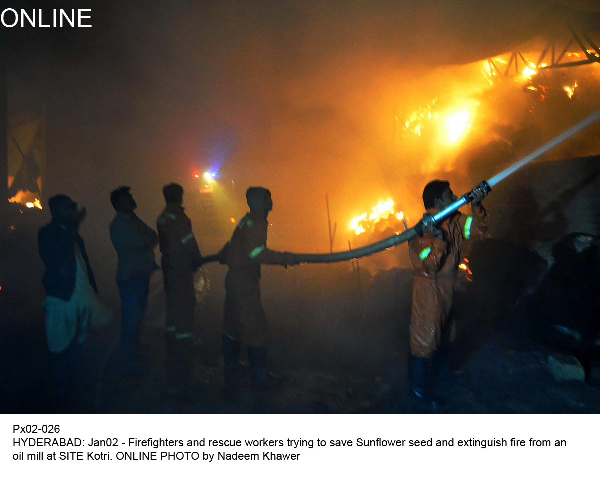 A cotton warehouse in Rasheedabad, SITE, caught fire on Friday. PHOTO: ONLINE
