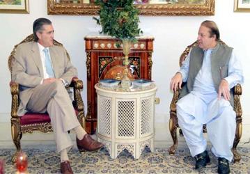 United States Ambassador to Pakistan Richard Olson and Prime Minister Nawaz Sharif. PHOTO: RADIO PAKISTAN