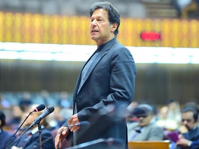 Prime Minister Imran Khan addressing a joint Parliament session on February 28, 2019. PHOTO: INSTAGRAM/ IMRAN KHAN PTI