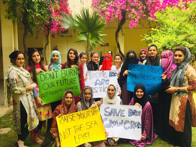 Students who are protesting on Fridays in solidarity with Thunberg's School Strike for Climate are only restricting themselves to their university campuses in Pakistan. PHOTO: RINA SAEED KHAN