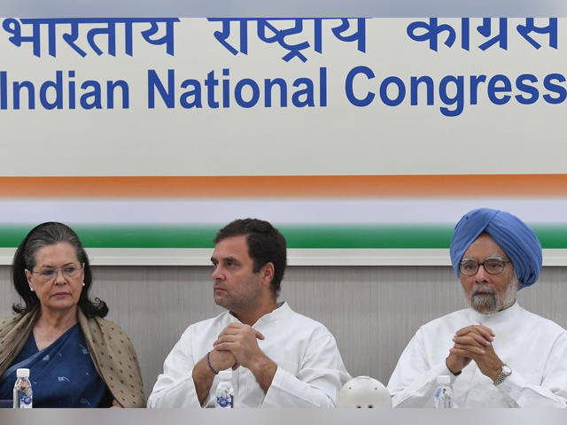 Indian National Congress president Rahul Gandhi attends a party executive meeting in New Delhi with his mother and predecessor, Sonia, and former prime minister Manmohan Singh. PHOTO: AFP