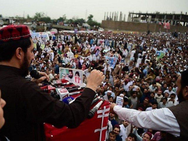 Manzoor Pashteen addressing a PTM rally. PHOTO: AFP