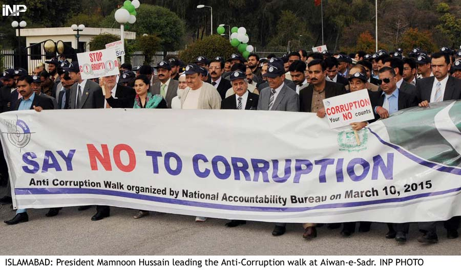 President Mamnoon Hussain leading the Anti-Corruption walk. PHOTO: INP