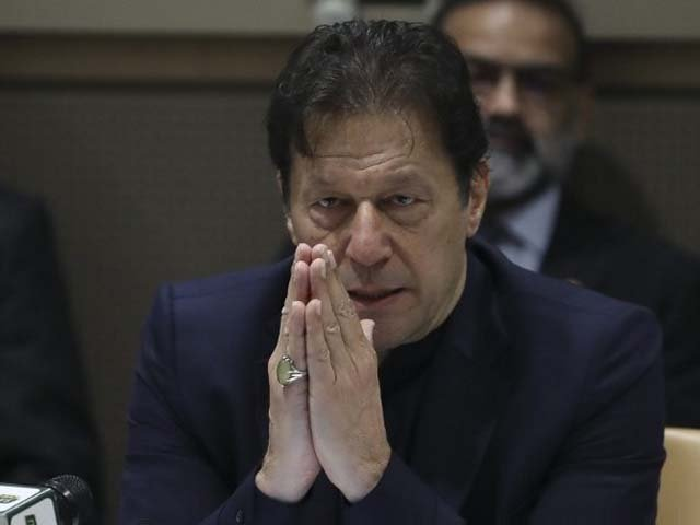 """Pakistan's Prime Minister Imran Khan speaks during a side event titled """"Combating hate speech"""". PHOTO: AFP"""
