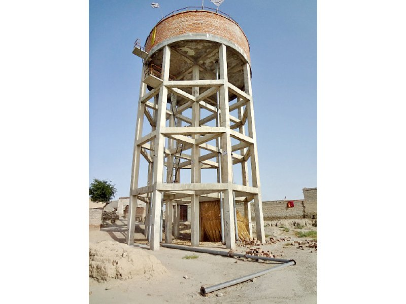 Water tank in Shah Hassan. PHOTO: EXPRESS