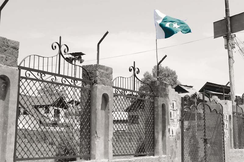 In Old Barzulla Srinagar, which is considered a hotbed of pro-freedom activities and Geelani's supporters, two Pakistan flags always remain hoisted in a public park. PHOTO: HAZIQ QADRI