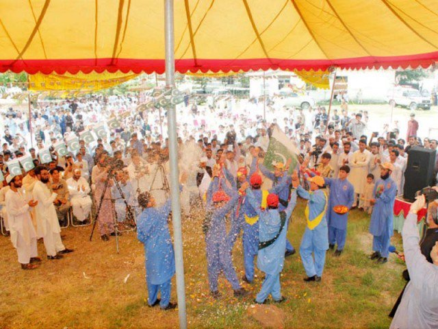 Students perform at the festival in Shangla. PHOTO: UMER BACHA/EXPRESS