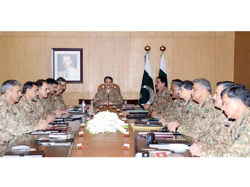 Gen Raheel chairs a meeting of the corps commanders at GHQ. PHOTO: NNI