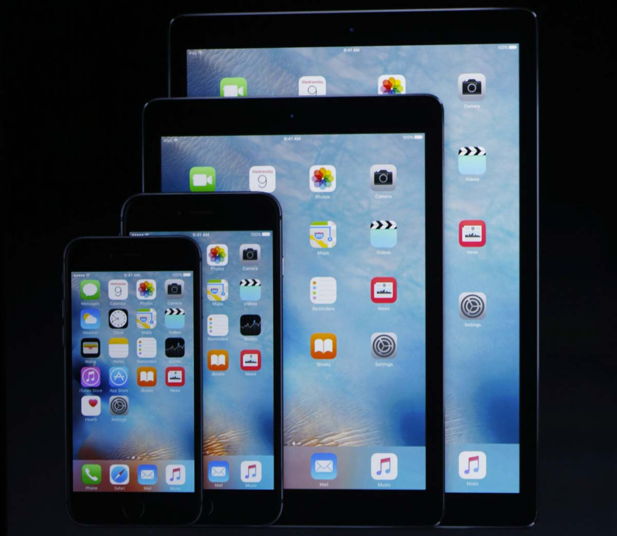 The new range of Apple devices unveiled during Wednesday's event. PHOTO: AFP