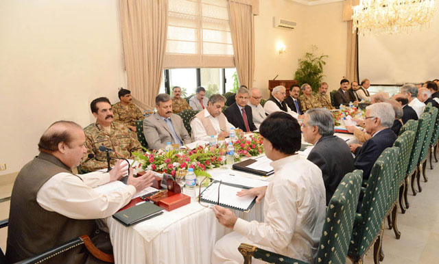 Prime Minister Nawaz Sharif chairs a meeting to review progress on implementation of the National Action Plan (NAP) at the PM's House in Islamabad on September 10, 2015. PHOTO: PID