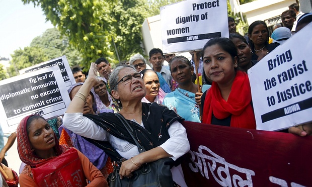 Indian women's rights demonstrators hold a protest outside Saudi Arabia's embassy in New Delhi over the alleged rape of two Nepali maids by a diplomat. PHOTO: REUTERS