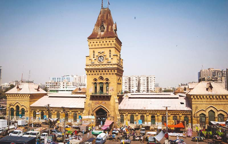 The century-old Empress Market stands in the busy business district of Karachi. PHOTO : ARIF SOOMRO