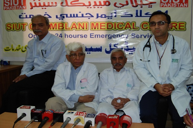 Dr Adibul Hassan Rizvi addressing a press conference. PHOTO: EXPRESS