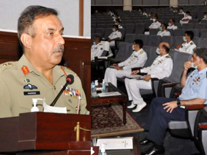 General Nadeem Raza addresses the participants of Navy Staff Course. PHOTO: ISPR