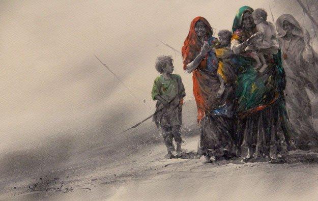 Pakistani artist Ali Abbas Syed's watercolour. PHOTO: AYESHA MIR/EXPRESS